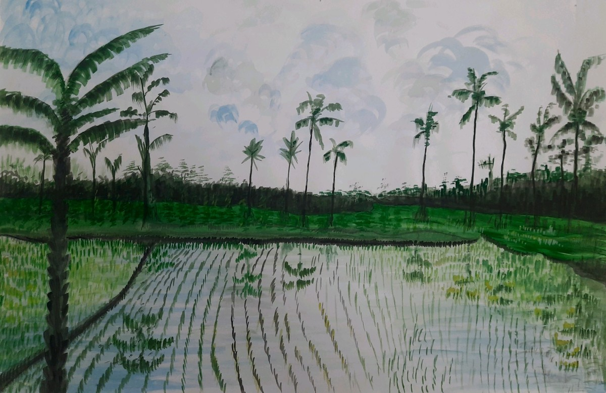 Rice Paddy by Surendra Kumar Srivastava, Impressionism Painting, Watercolor on Paper, Quick Silver color