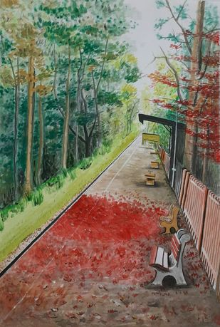 Railway Station by Surendra Kumar Srivastava, Impressionism Painting, Pen, pencil, watercolour on paper, Sandstone color