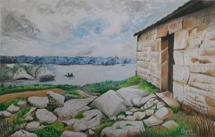 Nature's Home by Surendra Kumar Srivastava, Impressionism Painting, Pen, pencil, watercolour on paper, Mountain Mist color