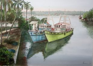 Fishing Boats by Pravin, Impressionism Painting, Watercolor on Paper, Silver Sand color