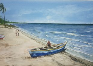 Fishing Canoes by Pravin, Impressionism Painting, Watercolor on Paper, Pewter Blue color