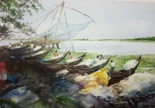 Fishing Canoes by Pravin, Impressionism Painting, Watercolor on Paper, Kangaroo color