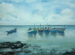 Fishing Boats by Pravin, Impressionism Painting, Watercolor on Paper, Shadow Green color