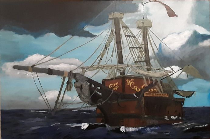 The Pirates Ship by Tejal Bhagat, Impressionism Painting, Acrylic on Canvas, Dune color