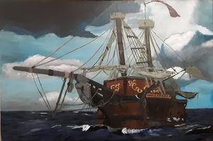 The Pirates Ship Digital Print by Tejal Bhagat,Impressionism