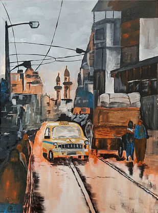 Kolkata 02 by Tejal Bhagat, Impressionism Painting, Acrylic on Canvas, Tuatara color