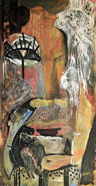 Vision of Hope III by Tabrez Hassan Ansari, Expressionism Painting, Acrylic on Canvas, Domino color