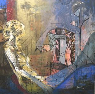Vision of Hope IV by Tabrez Hassan Ansari, Expressionism Painting, Acrylic on Canvas, Hurricane color