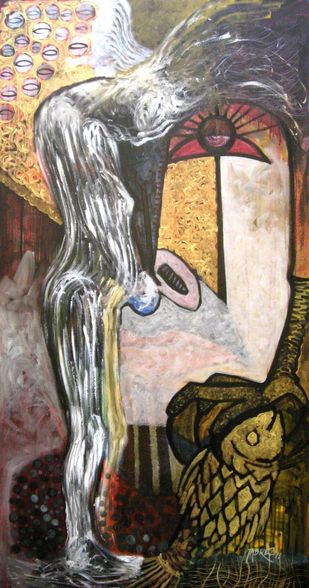Vision of Hope V by Tabrez Hassan Ansari, Expressionism Painting, Acrylic on Canvas, Bison Hide color