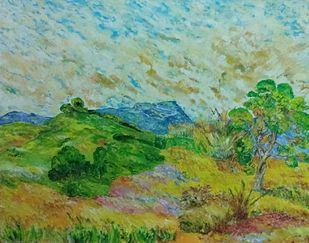 Grass Land by Binu K V, Impressionism Painting, Acrylic on Canvas, Battleship Gray color