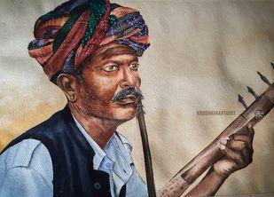 Rajasthani man by Krushna bartakke, Impressionism Painting, Watercolor on Paper, Napa color