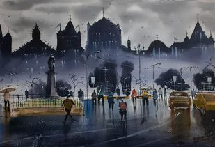 Rainy days by Krushna bartakke, Impressionism Painting, Watercolor on Paper, Tuna color