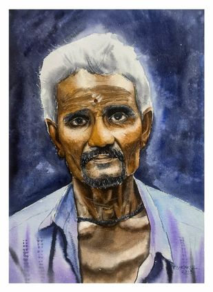 Glowing face by Krushna bartakke, Impressionism Painting, Watercolor on Paper, Tuna color