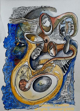 Melody and Moods by Sulagna Byapari, Illustration Painting, Ink/ watercolour/acrylic on handmade paper, Cloud Burst color