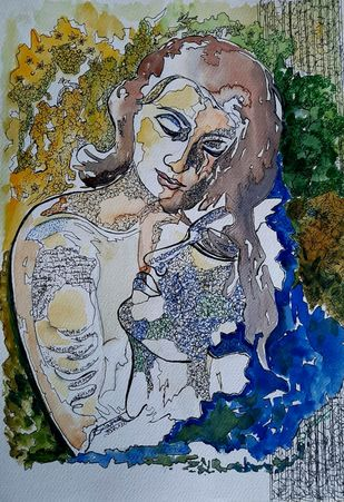 Eternal Love by Sulagna Byapari, Expressionism Painting, Ink/ watercolour/acrylic on handmade paper, Oslo Gray color