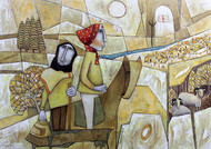 The Journey-9 by NAGESWARA RAO, Expressionism Painting, Oil on Canvas, Heathered Gray color
