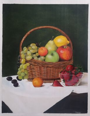 Fruits on table by Henry Charles, Realism Painting, Oil on Paper, Merlin color