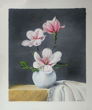 Magnolia flower by Henry Charles, Impressionism Painting, Acrylic on Paper, Cloud color