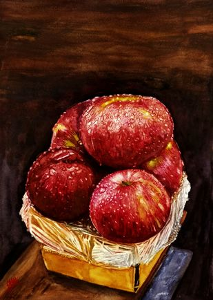 Apples In Box by Sabari Girish T, Realism Painting, Watercolor on Paper, Paco color