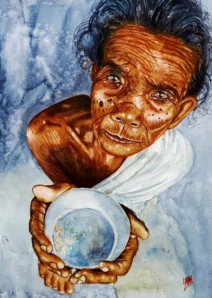 Eyes Of Poverty by Sabari Girish T, Impressionism Painting, Watercolor on Paper, Submarine color