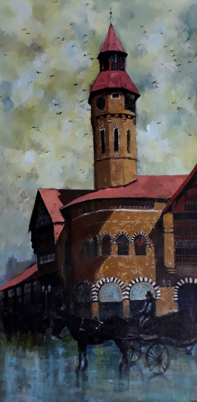 crawford market I by Sandeep Ghule, Impressionism Painting, Acrylic on Canvas, Smoke color