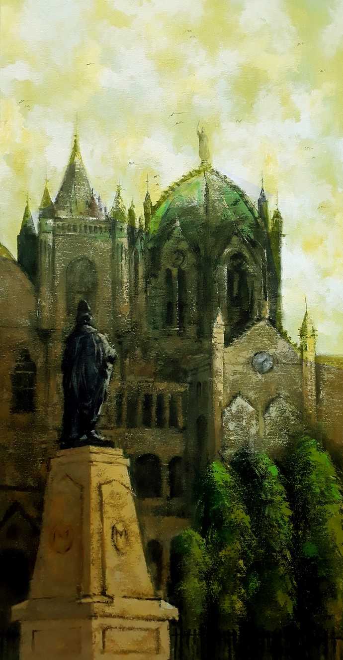 cst mumbai by Sandeep Ghule, Impressionism Painting, Acrylic on Canvas, Black Olive color