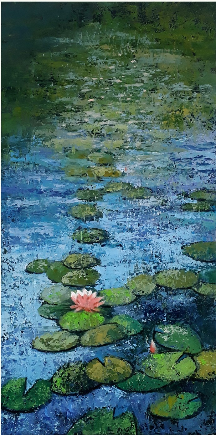 lotus I by Sandeep Ghule, Impressionism Painting, Acrylic on Canvas, Leather Jacket color