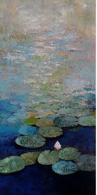 lotus II by Sandeep Ghule, Impressionism Painting, Acrylic on Canvas, Mummys Tomb color