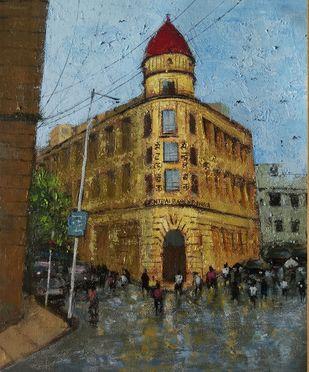 mumbai series II by Sandeep Ghule, Impressionism Painting, Acrylic on Canvas, Mondo color