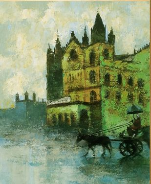 mumbai series IV by Sandeep Ghule, Impressionism Painting, Acrylic on Canvas, Rainee color