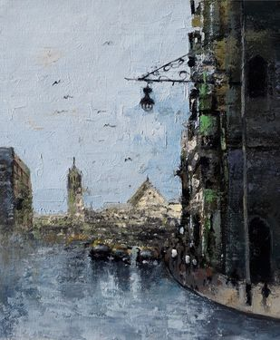 mumbai series V by Sandeep Ghule, Impressionism Painting, Acrylic on Canvas, Onyx color