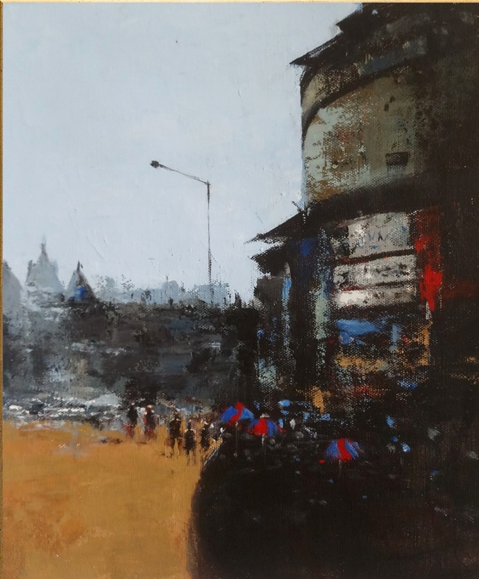 mumbai series VI by Sandeep Ghule, Impressionism Painting, Acrylic on Canvas, Dune color