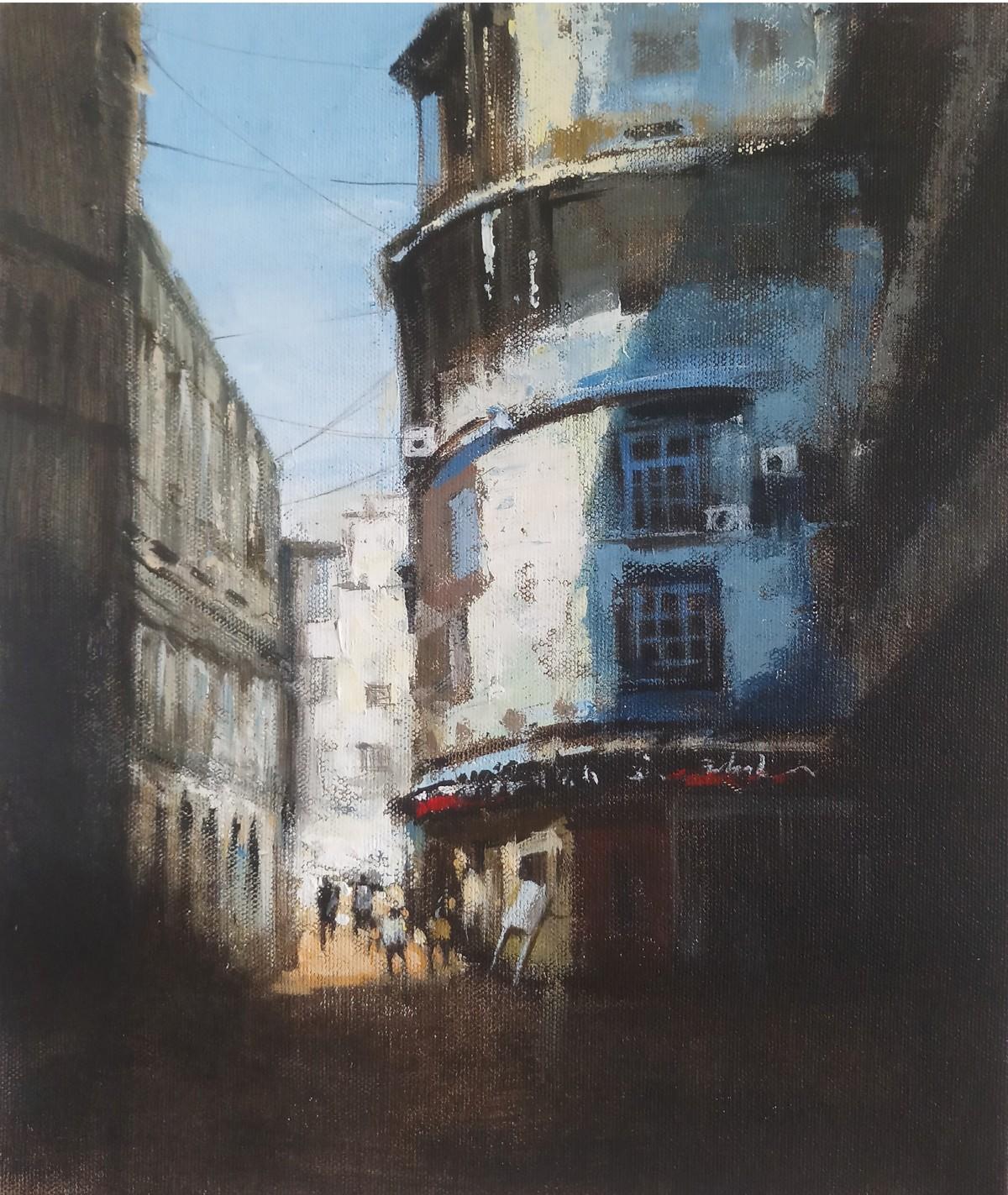 mumbai series VII by Sandeep Ghule, Impressionism Painting, Acrylic on Canvas, Masala color