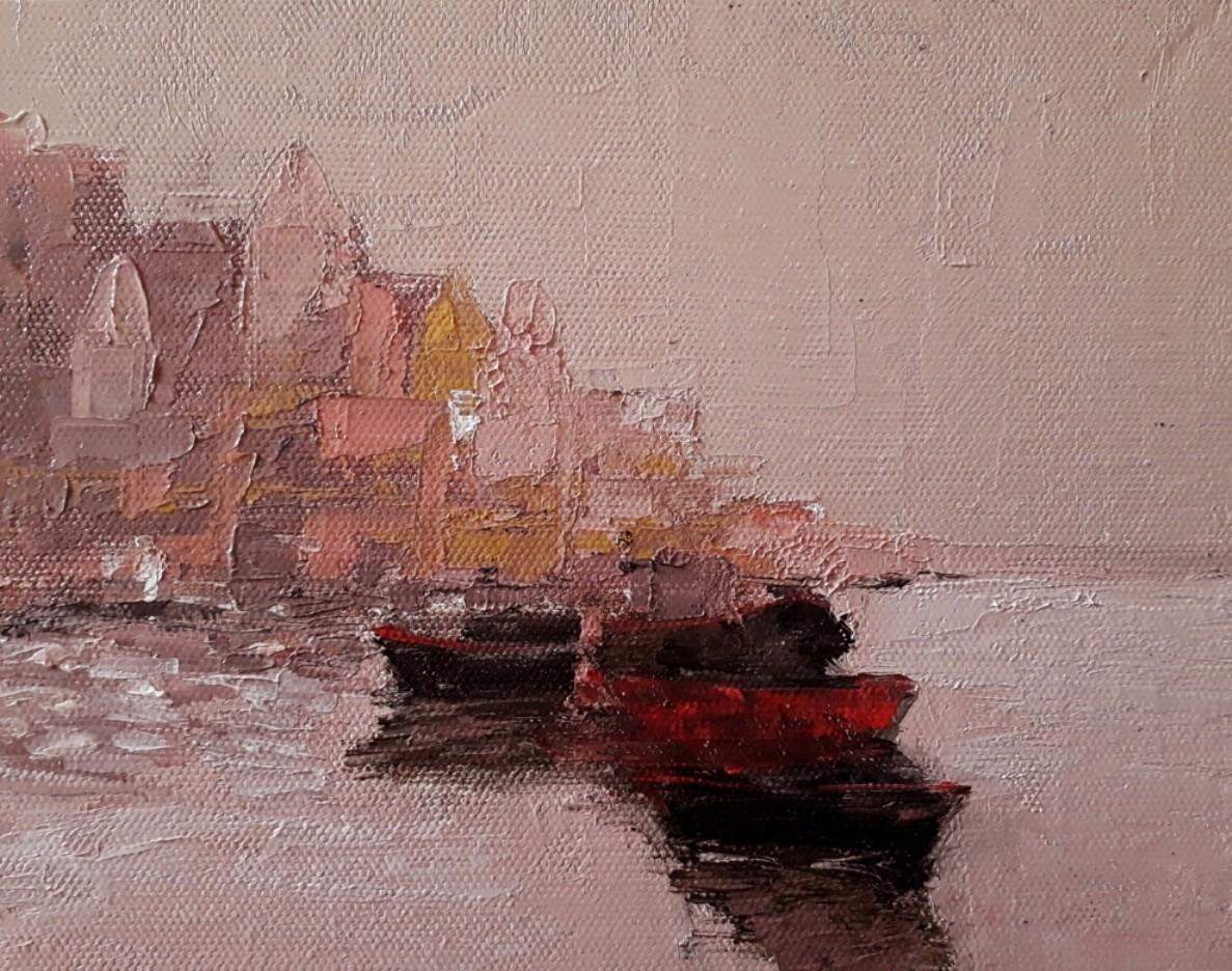 banaras by Sandeep Ghule, Impressionism Painting, Oil on Canvas Board, Pharlap color