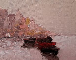 banaras by Sandeep Ghule, Impressionism Painting, Oil on Canvas Board, Pharlap color