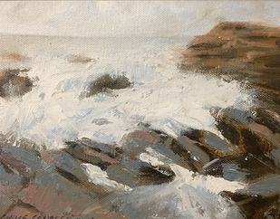 seascape by Sandeep Ghule, Impressionism Painting, Oil on Canvas Board, Sisal color