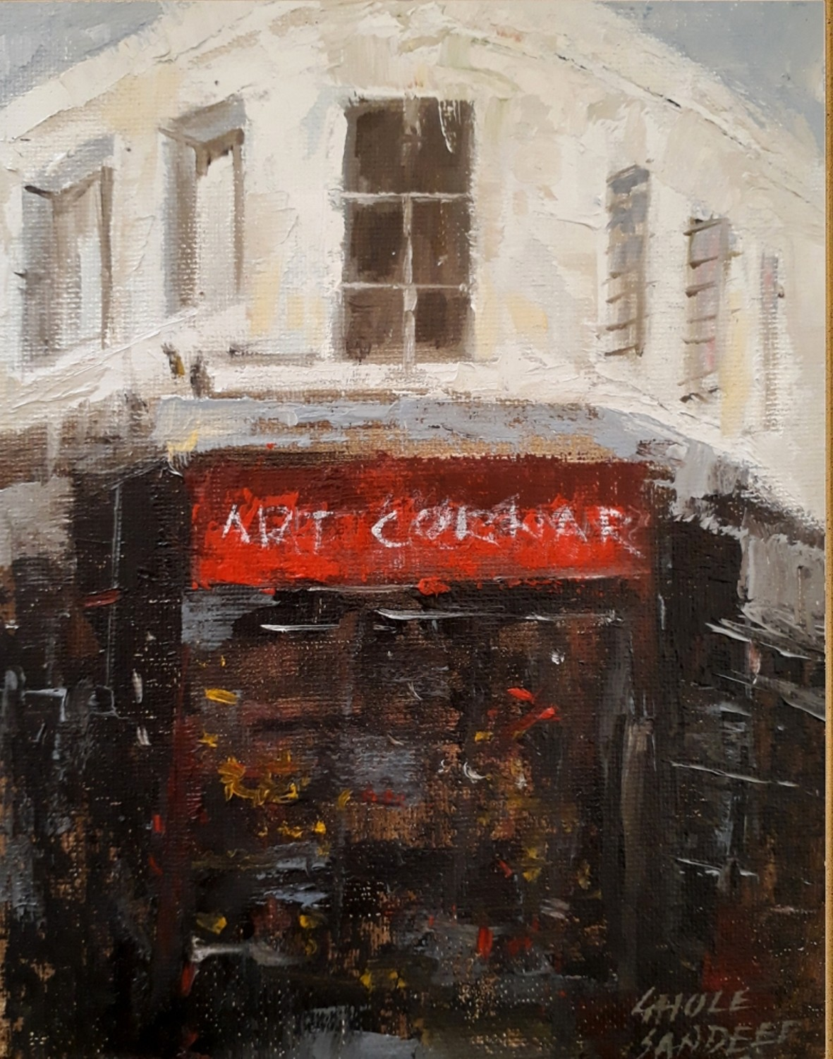 art corner by Sandeep Ghule, Impressionism Painting, Oil on Canvas Board, English Walnut color
