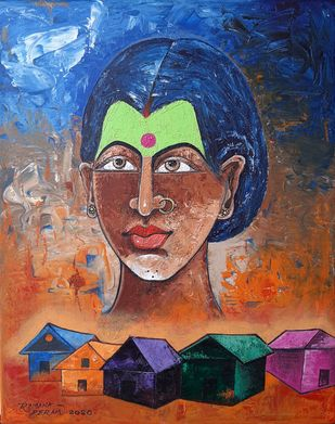 Village Beauty by Ramana Peram , Expressionism Painting, Acrylic on Canvas, Tuscany color
