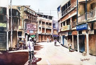 Varanasi cityscape by Lasya Upadhyaya, Impressionism Painting, Watercolor on Paper, Pearl Bush color