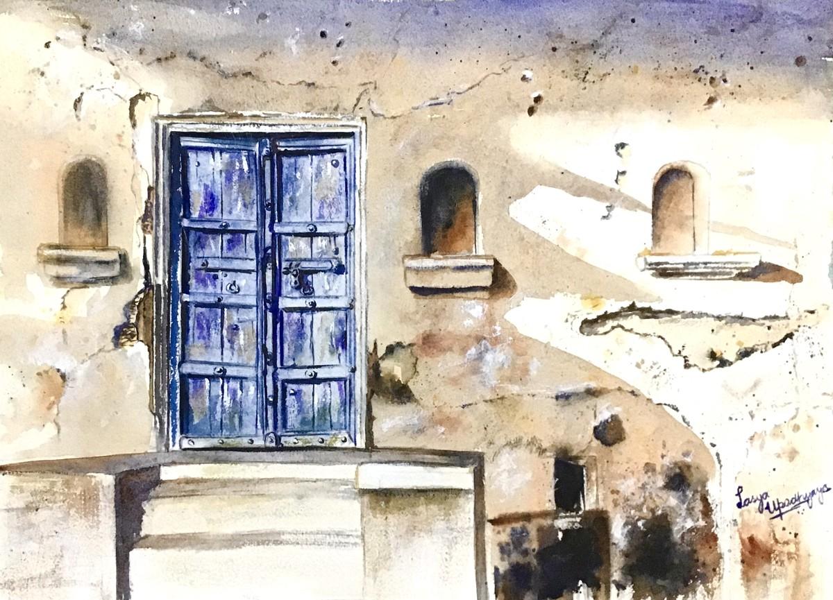 Old blue door by Lasya Upadhyaya, Impressionism Painting, Watercolor on Paper, Pearl Bush color