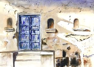 Old blue door by Lasya Upadhyaya, Impressionism Painting, Watercolor on Paper, Pearl Bush color