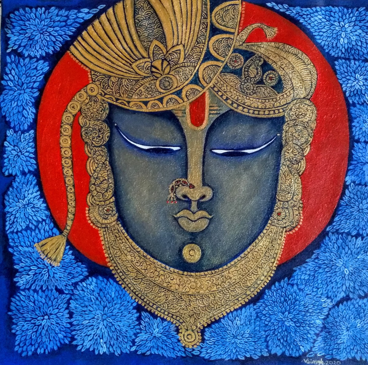 Shrinathji by Vibha Singh, Traditional Painting, Acrylic on Canvas, Fiord color