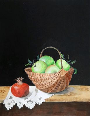 Fruit basket by Surendra Kumar Srivastava, Photorealism Painting, Pen, pencil, watercolour on paper, Eerie Black color