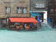 city by Sandeep Ghule, Impressionism Painting, Acrylic on Board, Gunsmoke color