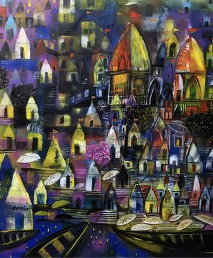 city of temple ( varanasi ) by Arun K Mishra, Expressionism Painting, Acrylic on Canvas, Tuna color
