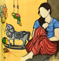 Bachpan by Mrinal Dutt, Expressionism Painting, Mixed Media on Canvas, Equator color