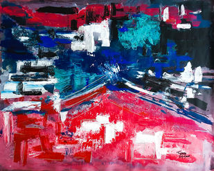Carnival by Tasneem A Bharmal, Abstract Painting, Acrylic on Canvas,