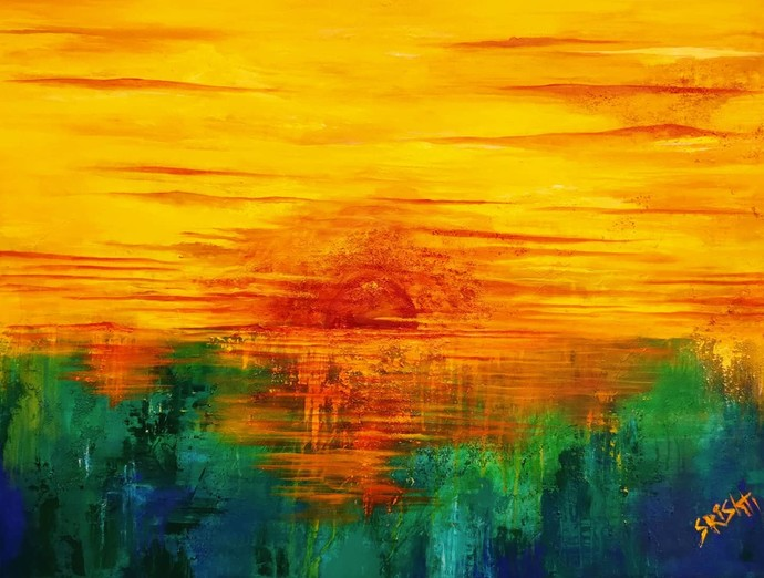 Synergy by Srishti Bansal, Abstract Painting, Mixed Media on Canvas, Everglade color