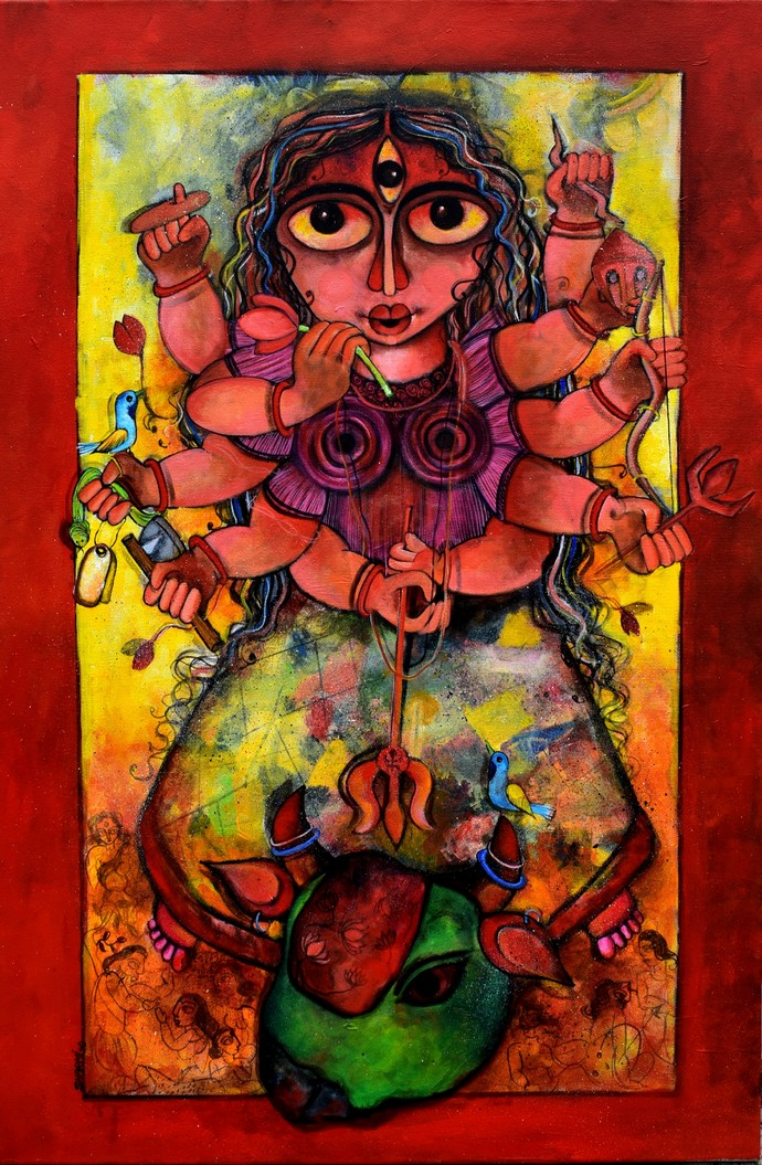 Maheshwari by Sharmi Dey, Expressionism Painting, Acrylic on Canvas, Tamarillo color