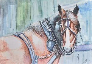 The Stallion by Shailesh Salvi, Impressionism Painting, Watercolor on Paper, Silver Sand color